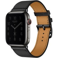 Apple Watch Series 6 Hermes 44mm Space Black, ремешок Single Tour из кожи Swift цвета Noir