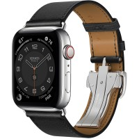 Apple Watch Series 6 Hermes 44mm, ремешок Single Tour Deployment Buckle из кожи Swift цвета Noir