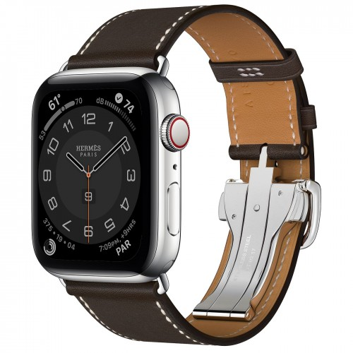 Apple Watch Series 6 Hermes 44mm, ремешок Single Tour Deployment Buckle из кожи Swift цвета Ebene