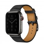 Apple Watch Series 6 Hermes 40mm Space Black, ремешок Single Tour из кожи Swift цвета Noir