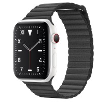 Apple Watch Edition Series 5 Ceramic, 44 мм Cellular + GPS, кожаный черный ремешок