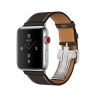 Apple Watch Hermes Series 3 42mm Stainless Steel Case with Ebene Barenia Leather Single Tour Deployment Buckle