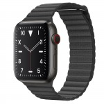 Apple Watch Edition Series 5 Titanium Space Black, 44 мм Cellular + GPS, кожаный черный браслет
