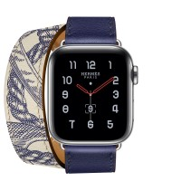 Apple Watch Hermes Series 5, 40mm Stainless Steel Case with Encre Beton Swift Leather Double Tour