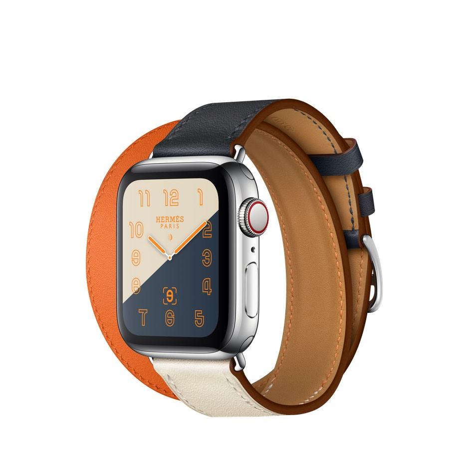 56255294f0a9 Apple Watch Series 4 Hermes, 40 мм, двойной кожаный ремешок, оранжевый,  индиго, бежевый, нержавеющая сталь, Cellular + GPS
