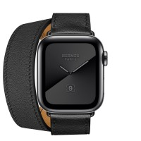 Apple Watch Hermes Series 5, 40mm Space Black Stainless Steel Case with Noir Swift Leather Double Tour