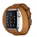 Apple Watch Hermes Series 5, 40mm Stainless Steel Case with Fauve Barenia Leather Double Tour