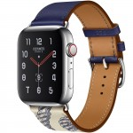 Apple Watch Hermes Series 5, 44mm Stainless Steel Case with Encre Beton Swift Leather Single Tour