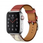 Apple Watch Hermes Series 5, 40mm Stainless Steel Case with Brique Beton Swift Leather Single Tour