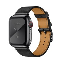Apple Watch Hermes Series 5, 40mm Space Black Stainless Steel Case with Noir Swift Leather Single Tour
