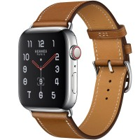 Apple Watch Hermes Series 5, 44mm Stainless Steel Case with Fauve Barenia Leather Single Tour