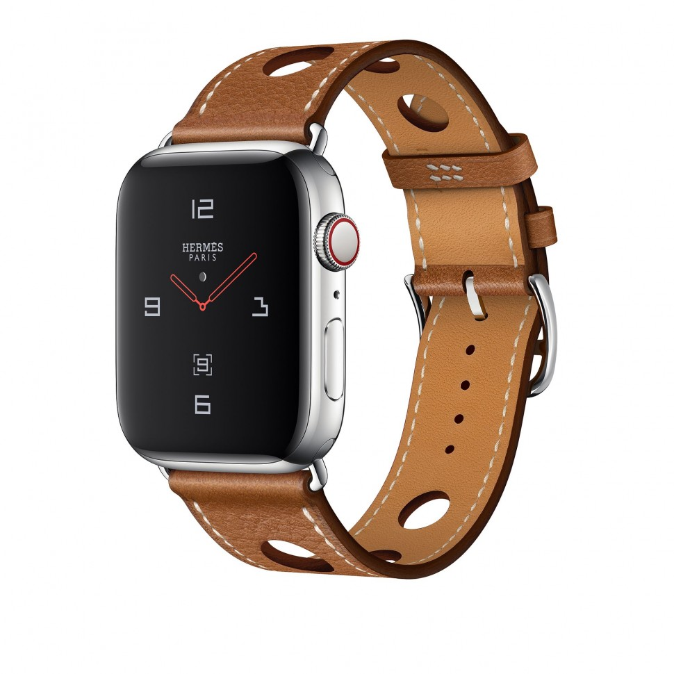 d9d30e78 Apple Watch Series 4 Hermes, 44 мм, ремешок из зернистой кожаный  коричневый, нержавеющая сталь, Cellular + GPS