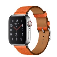 Apple Watch Hermes Series 5, 40mm Stainless Steel Case with Feu Epsom Leather Single Tour