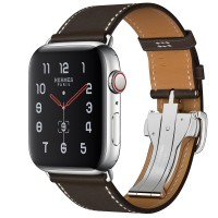Apple Watch Hermes Series 5, 44mm Stainless Steel Case with Ebene Barenia Leather Single Tour Deployment Buckle