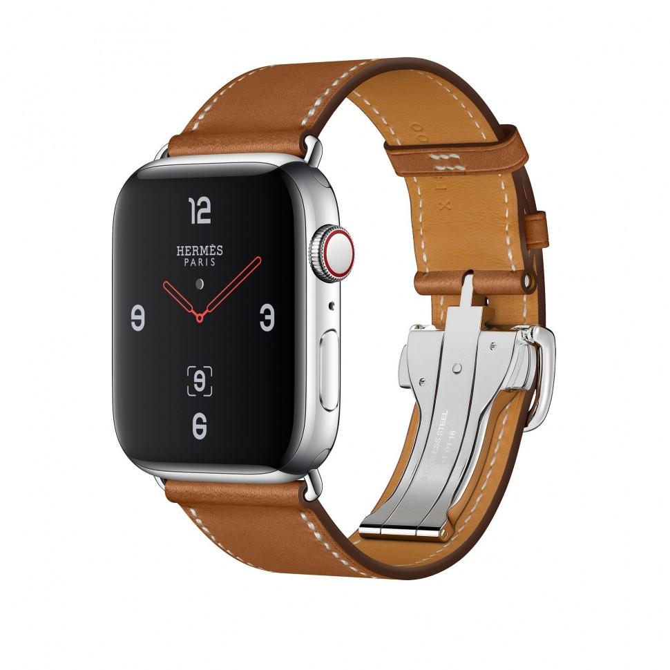 ce94c496854b Apple Watch Series 4 Hermes, 44 мм, коричневый ремешок с раскладывающейся  застёжкой, нержавеющая сталь, Cellular + GPS