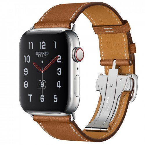 Apple Watch Hermes Series 5, 44mm Stainless Steel Case with Fauve Barenia Leather Single Tour Deployment Buckle