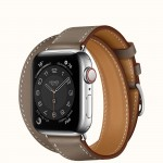 Apple Watch Series 6 Hermes 40mm, ремешок Double Tour из кожи Swift цвета Etoupe