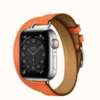 Apple Watch Series 6 Hermes 40mm, ремешок Attelage Double Tour из кожи Barenia цвета Orange