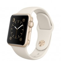 Apple Watch Sport 38mm Gold with Antique White sport band / Мраморно-белый MLCJ2