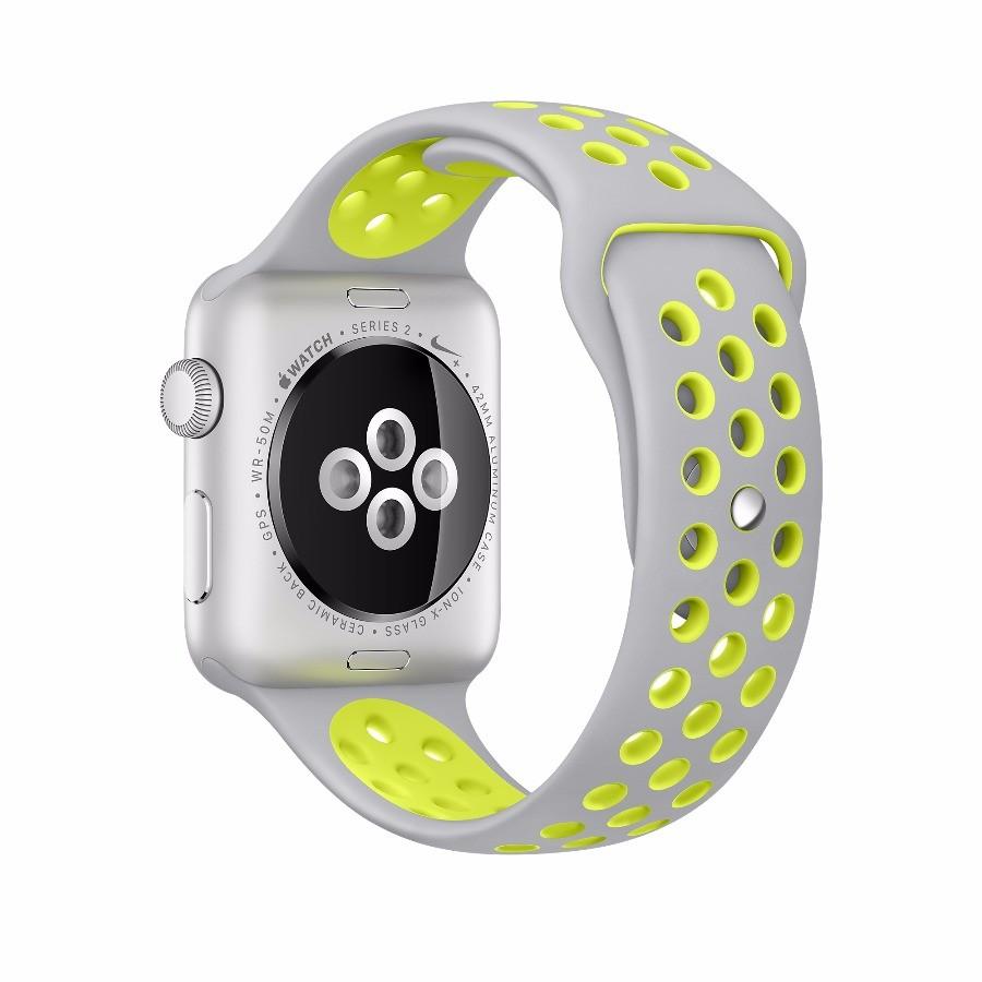 ef5491e8 Apple Watch 2 Nike 42mm, серый салатовый ремешок, серебристый алюминий