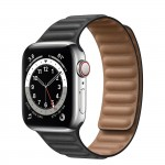 Apple Watch Series 6 Silver Stainless Steel 40mm, черный кожаный ремешок