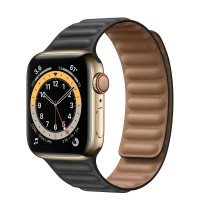 Apple Watch Series 6 Gold Stainless Steel 40mm, черный кожаный ремешок