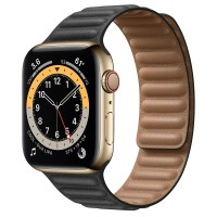 Apple Watch Series 6 Gold Stainless Steel 44mm, черный кожаный ремешок