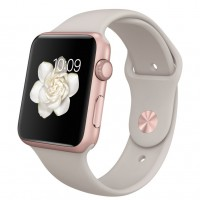 Apple Watch Sport 42mm Rose Gold with Stone sport band / Бежевый MLC62