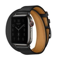 Apple Watch Series 6 Hermes 44mm Space Black, ремешок Double Tour из кожи Swift цвета Noir