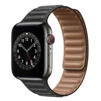 Apple Watch Series 6 Graphite Stainless Steel 44mm, черный кожаный ремешок