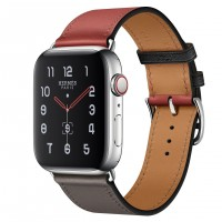 Apple Watch Hermes Series 5, 44mm Stainless Steel Case with Noir Brique Étain Swift Leather Single Tour