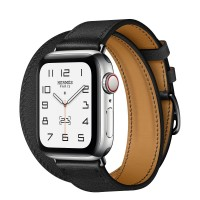 Apple Watch Series 6 Hermes 40mm, ремешок Double Tour из кожи Swift цвета Noir