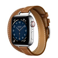 Apple Watch Series 6 Hermes 40mm, ремешок Attelage Double Tour из кожи Barenia цвета Fauve