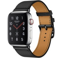 Apple Watch Hermes Series 5, 44mm Stainless Steel Case with Noir Swift Leather Single Tour