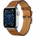 Apple Watch Series 6 Hermes 44mm, ремешок Attelage Single Tour из кожи Barenia цвета Fauve