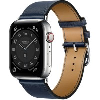 Apple Watch Series 6 Hermes 44mm, ремешок Single Tour из кожи Swift цвета Navy