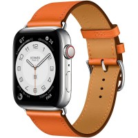 Apple Watch Series 6 Hermes 44mm, ремешок Single Tour из кожи Swift цвета Orange