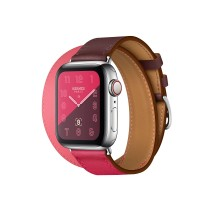Apple Watch Series 5 Hermes 40mm Bordeaux Rose Extreme Rose Azalee Swift Leather Double Tour