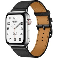 Apple Watch Series 6 Hermes 44mm, ремешок Single Tour из кожи Swift цвета Noir