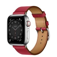 Apple Watch Series 6 Hermes 40mm, ремешок Single Tour из кожи Swift цвета Rouge Piment